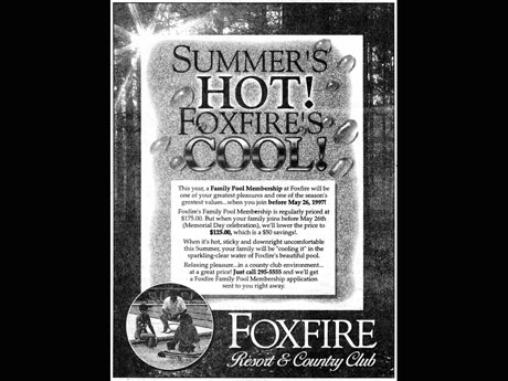 advertisement for foxifre resort