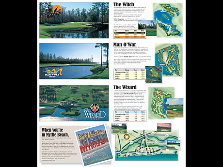 graphic design of the inside of a marketing brochure for a group of golf courses