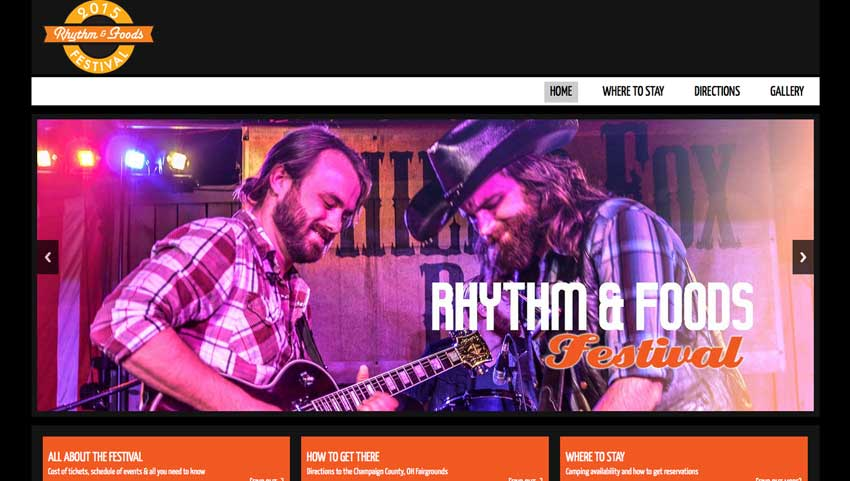 web site design for rhythm and foods festival
