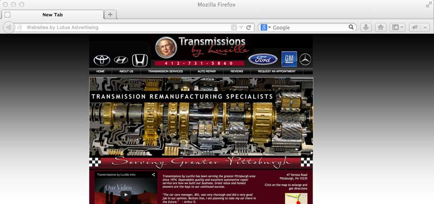 home page design for transmissions by lucille
